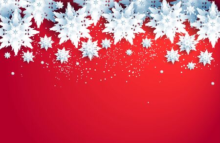 Red winter holiday realistic snowflakes
