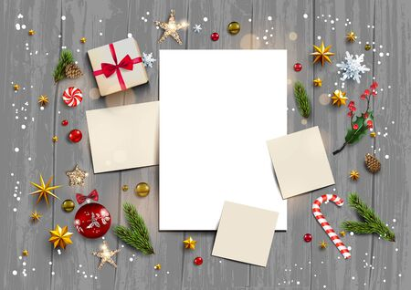 Holiday template with festive card and decorations balls, stars, snowflakes on wood background. Christmas festive concept.