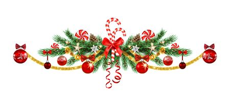 Christmas tree decoration border. Holiday image with pine branches, balls and ribbon for design banner, ticket, invitation or card, leaflet, poster and so on. Illustration