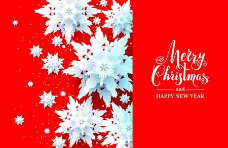 Red winter holiday realistic paper cut snowflakes greeting card. Snowys Christmas design on red background for design banner, ticket, invitation, greetings, leaflet and so on.