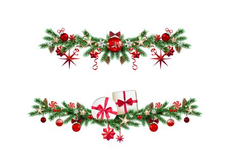 Set of Christmas festive decorative garlands. Holiday ornamental borders with pine branches, balls, stars and ribbon for design poster, banner, ticket, invitation or greeting card, leaflet and so on.