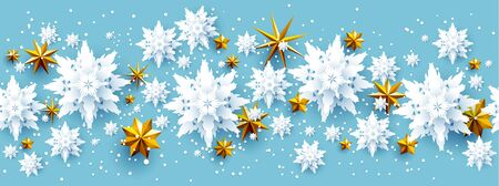 Realistic paper cut snowflakes and gold stars festive banner. Holiday Christmas design template background for design banner, ticket, invitation, greetings, leaflet and so on.