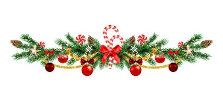 Christmas evergreen ornamental baranches. Holiday ornamental borders with pine branches, balls, stars and ribbon for design poster, banner, ticket, invitation or greeting card, leaflet and so on.