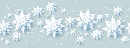 Realistic paper cut snowflakes banner Banque d'images - 134362270