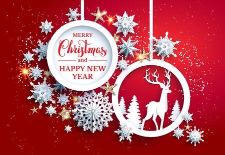 Bright Christmas frame with deer Illustration