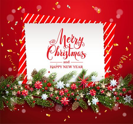 Greeting Christmas card on red Banque d'images - 134362231