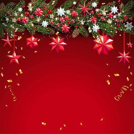 Christmas decor on red background