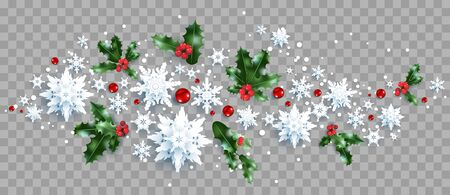 Decoration with snowflakes and holly Banque d'images - 135073900