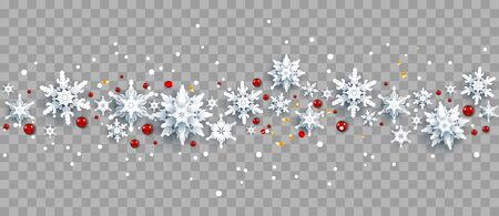 Snowflakes and red berries on background