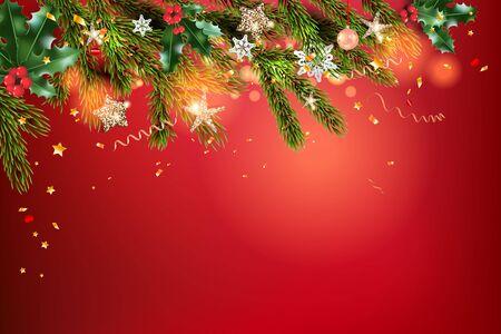 Christmas balls, stars, golden tinsel and confetti