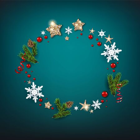 Winter seasonal wreath with snowflakes, stars, pine tree branches and berries. Winter holiday Christmas blue design for banners, advertising, leaflet, cards, greeting, invitation and so on.