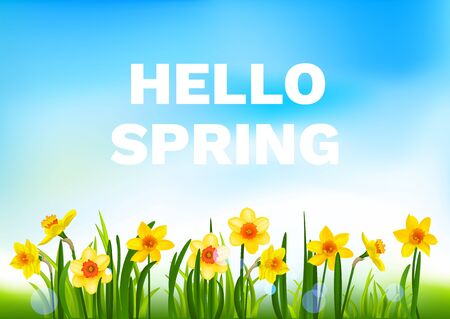 Hello spring floral nature banner