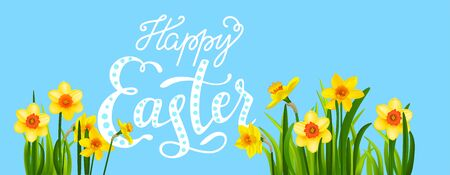Easter blossom banner with daffodils Banque d'images - 142183765