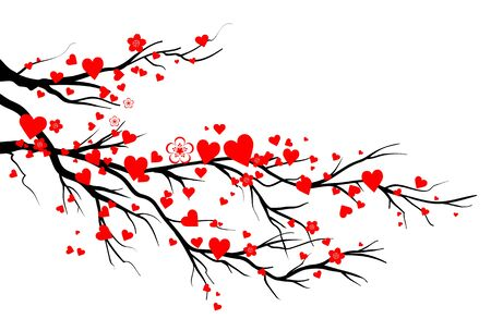 Spring blooming red hearts blossom branch. Seasonal symbol isolated on a white background Banque d'images - 140302968