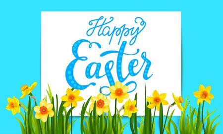 Holiday Easter elements on blue background Illustration