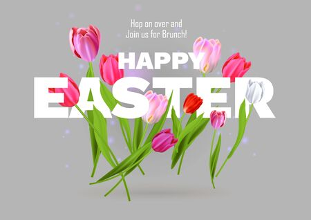 Happy Easter inscription and tulips. Banque d'images - 142303876