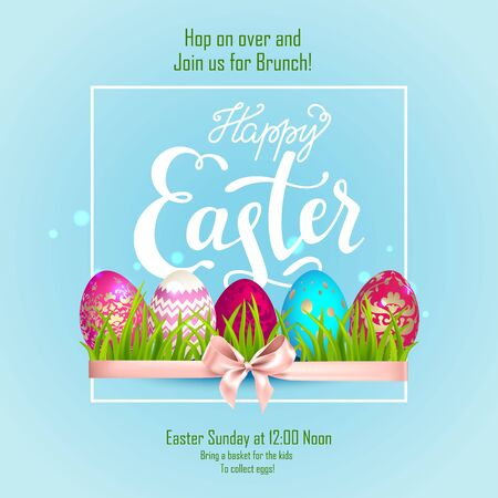 Happy Easter lettering, eggs and tulips Illustration