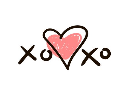 Xoxo Icon or logo with heart. Banque d'images - 142303879