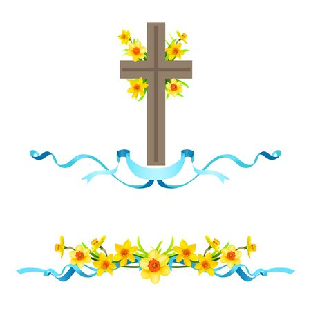 Festive floral composition with cross