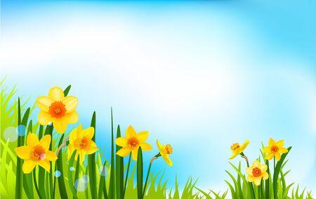 Season flowers on blue sky Illustration