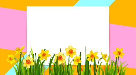 Floral holiday banner with daffodils
