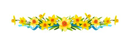 Festive floral composition with daffodils. Border for decorate card, banner, ticket, leaflet, poster, invitation, congratulations and so on. Spring holiday banner