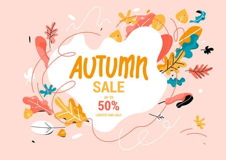 Fall sale banner Trendy style.