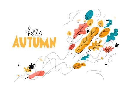 Trendy Autumn season illustration with leaves Illustration