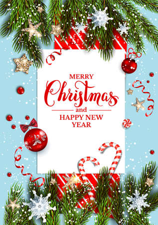 Holiday Christmas card with fir tree branches and festive decorations stars, snowflakes, holly on blue winter background. Festive template for banner, ticket, leaflet, card, invitation, poster and so on Foto de archivo