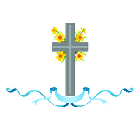 Cross icon with spring flowers.