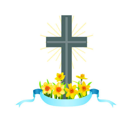 Easter cross with spring flowers Vectores
