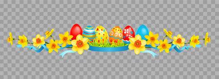 Easter floral decor on transparent background