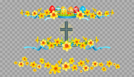 Holiday Easter borders on transparent background