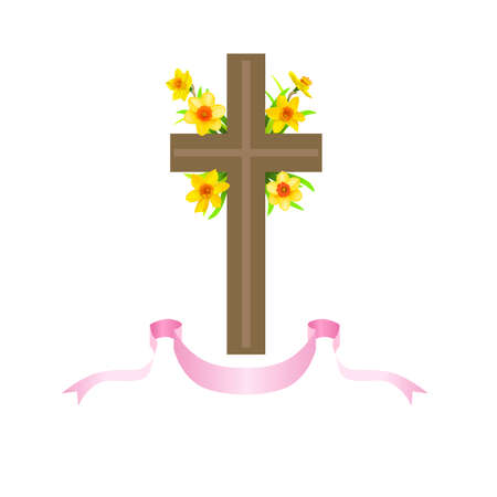 Festive floral composition with cross, ribbons and daffodils.
