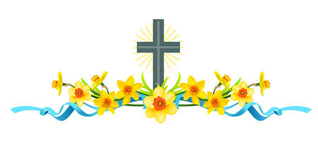 Spring holiday floral borders set with daffodils and cross.
