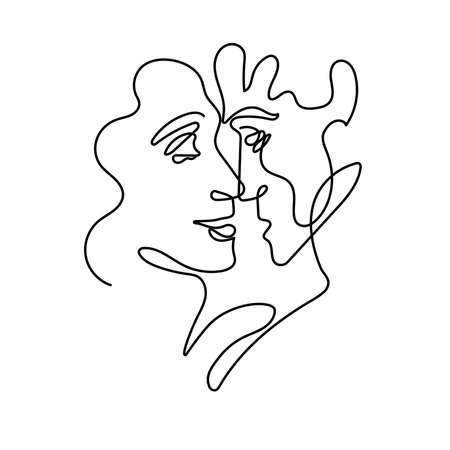 Abstract portrait of man and woman in minimalist style