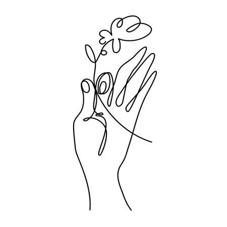 Hand holding a flower simple line art vector Vectores