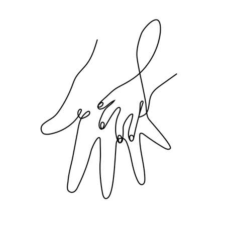 Icon of an adult parents hand holding hand.