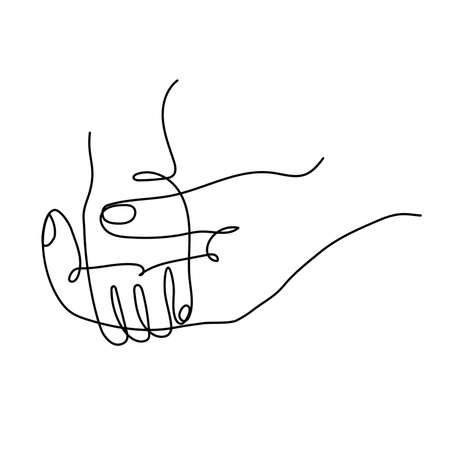 Icon of an adult parents hand holding childs hand.
