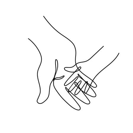 Adult parents hand holding childs hand.