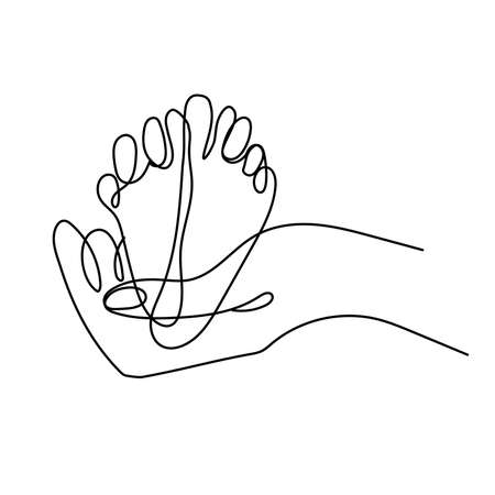 Sign adult parents hand holding childs heels Vectores