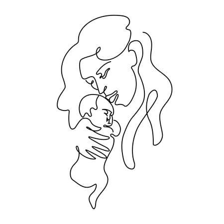 Abstract portrait of a mother hugs an infant