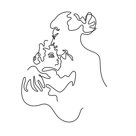 Abstract portrait of a mother kiss baby. Vectores