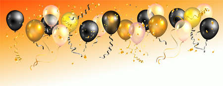 Bright holiday balloons banner Vectores