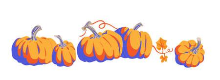 Pumpkins cartoon objects isolated.