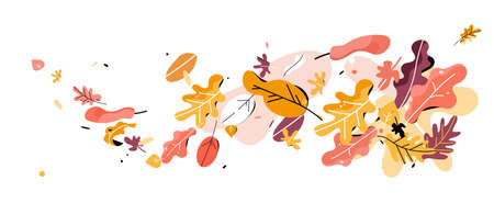 Autumn leaves banner. Vectores