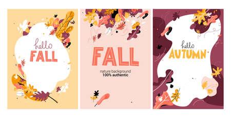 Hello autumn card set. Vectores