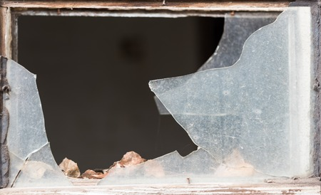 crazed: glass breakage, shard, smashed, window, danger Stock Photo