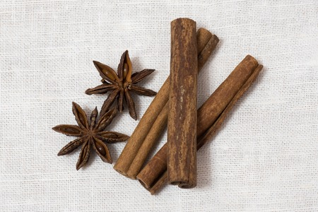 christmas scent: Anise and cinnamon isolated on white background.