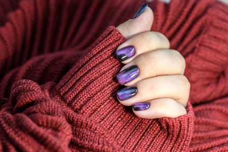 Beautiful Nail Polish In Hand Purple Nail Art Manicure Red Stock
